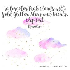 Watercolor Pink Clouds with Gold Stars and Hearts, Clip Art