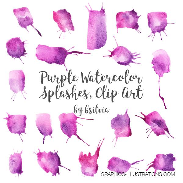 Purple Watercolor Splashes Clip Art, Watercolor Brush Strokes