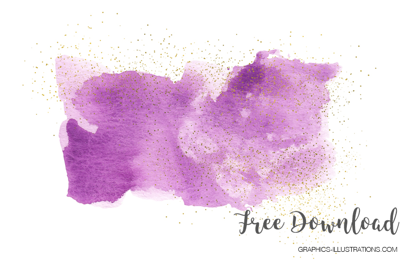 Free Pink Purple And Gold Watercolor Clip Art