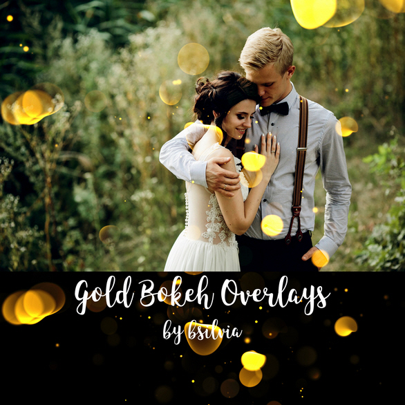 40 Gold Bokeh Overlays, Bokeh Photoshop Overlays, Gold Bokeh Digital Effect for Photography