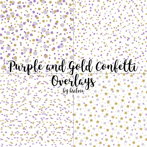 Purple and Gold Confetti Overlays, Gold Confetti Transparent PNG files