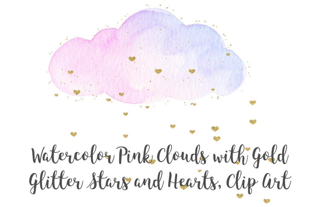 Watercolor Pink Clouds with Gold Stars and Hearts Clip Art, Watercolor Clouds Transparent PNG, Watercolor Clip Art, Pink and Gold Clip Art