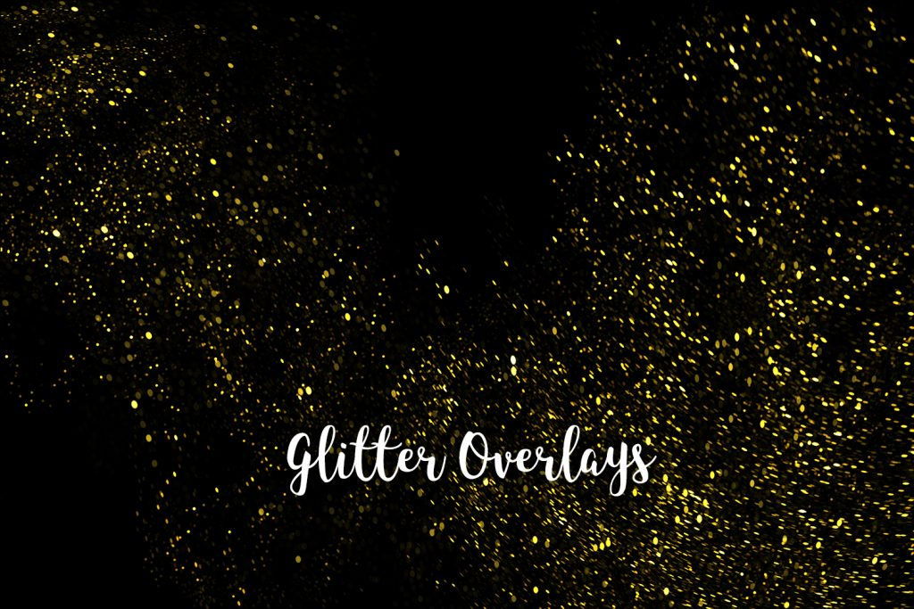 Yellow Glitter Overlays, Gold Glitter Bokeh Overlays