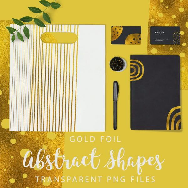 Gold Foil Abstract Shapes, Gold Transparent PNG files, ClipArt Set